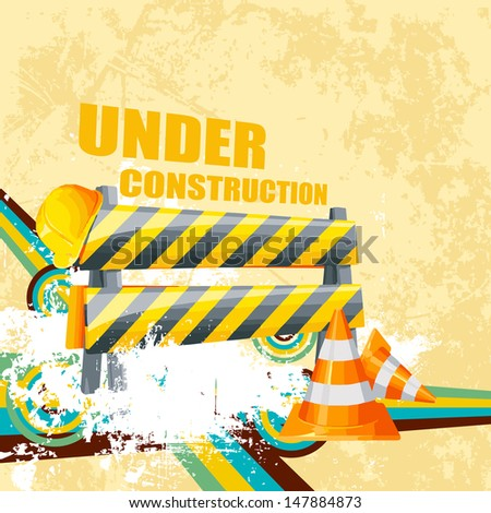 vector illustration of under construction background with road barrier and cone - stock vector