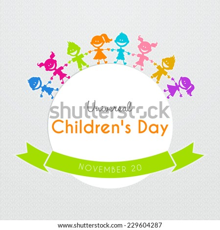 Vector illustration of Universal Children day poster - stock vector