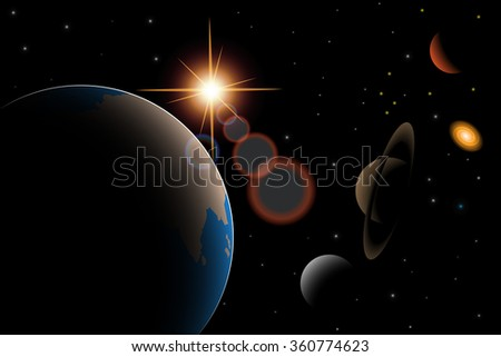 Vector  illustration of universe with galaxy,Earth,quasar,stars and other objects - stock vector