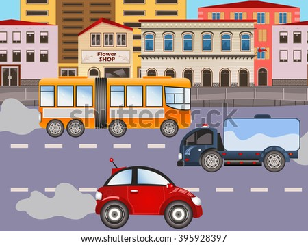 Vector illustration of urban city background with car and a truck. - stock vector