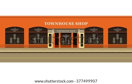 Vector illustration of urban street clothing store windows with mannequins - stock vector