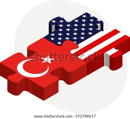 Vector illustration of USA and Turkish Flags in puzzle isolated on white background - stock vector