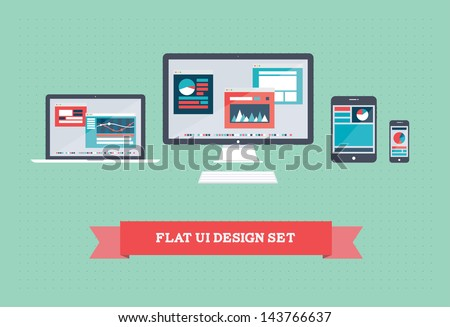 Vector illustration of user interface on digital tablet and on mobile devices with flat simplistic inforgraphic charts and web design on a screen. Isolated on green background. - stock vector
