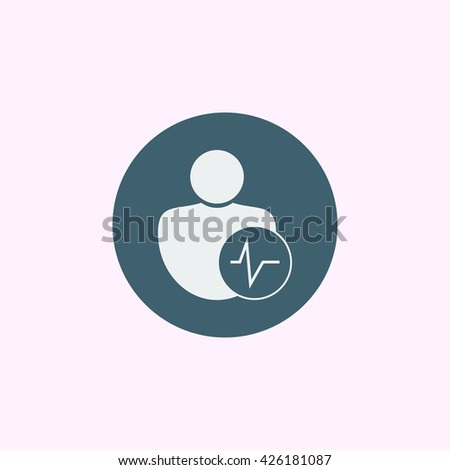 Vector illustration of user pulse sign icon on blue circle background. - stock vector