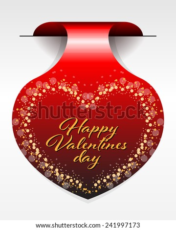 Vector illustration of valentine day heart sticker - stock vector