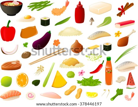 Vector illustration of various asian food items. - stock vector