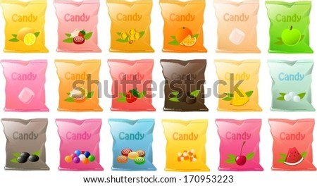 Vector illustration of various bags of candy. - stock vector