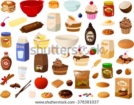 Vector illustration of various baking items. - stock vector