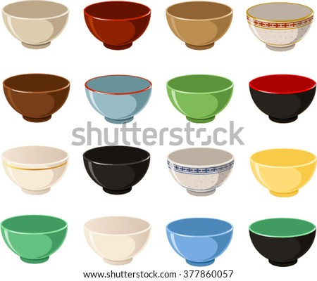 Vector illustration of various bowls. - stock vector