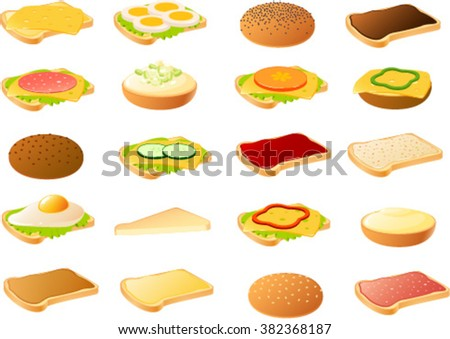 Vector illustration of various breads with toppings. - stock vector