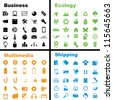 Vector illustration of various business, ecology, multimedia and shipping icons. - stock vector