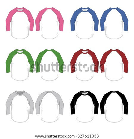 Vector Illustration of various colored Baseball style tees. - stock vector