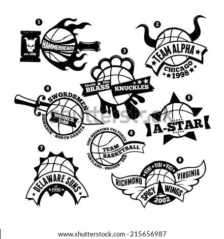 Vector illustration of various custom hand-drawn basketball logo badges. - stock vector