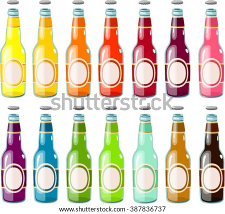Vector illustration of various fruit drinks in bottles. - stock vector