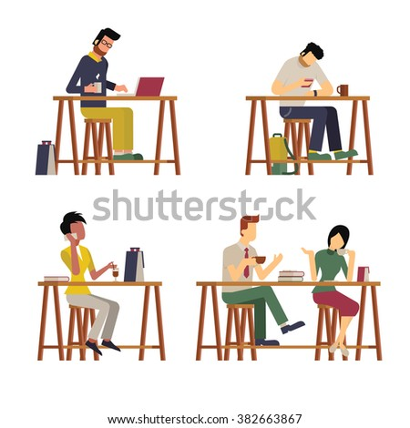 Vector illustration of various guests, man and woman,  enjoy coffee at wooden bar. Diverse and milti-ethnic character, flat design, vintage style.  - stock vector