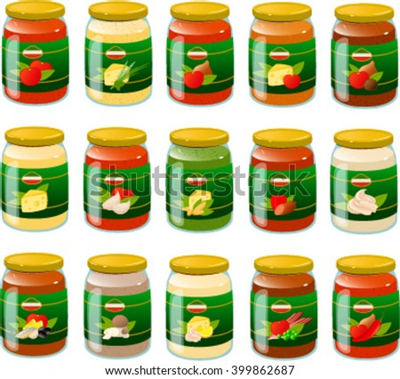 Vector illustration of various italian pasta sauces in glass jars. - stock vector