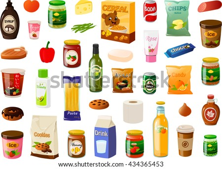 Vector illustration of various items bought in a supermarket. - stock vector