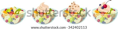 Vector illustration of various kinds of fruit salads. - stock vector
