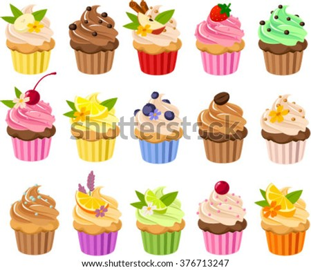 Vector illustration of various luxury cup cakes. - stock vector