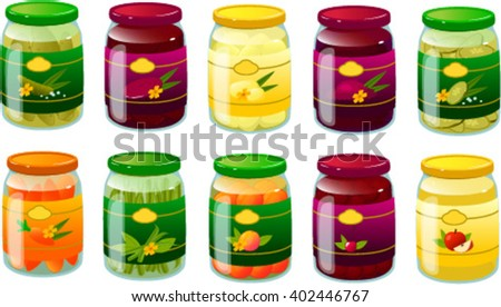 Vector illustration of various preserved fruits and vegetables. - stock vector