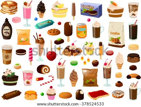 Vector illustration of various sweets. - stock vector