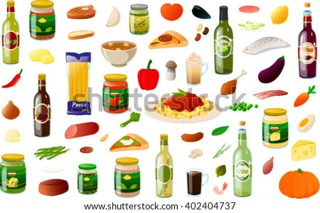 Vector illustration of various typical italian cooking ingredients. - stock vector
