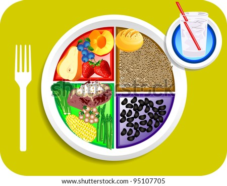 Vector illustration of Vegan or Vegetarian Dinner items for the new my plate replacing food pyramid. - stock vector