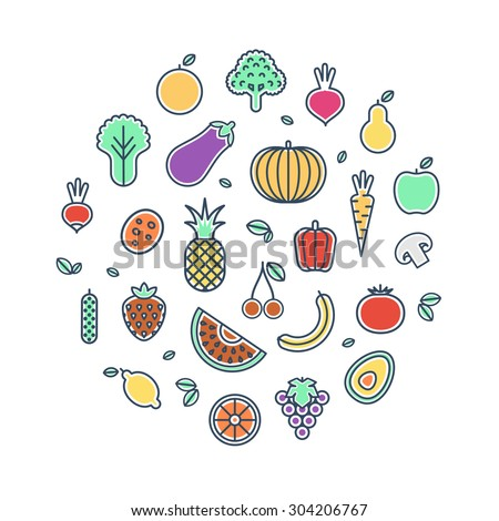 Vector illustration of vegetables and fruits. Vegetables and fruits thin line icons.  - stock vector