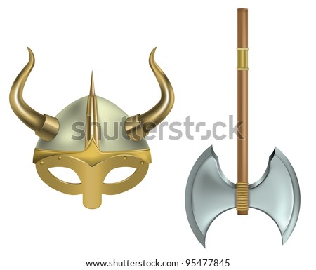 vector illustration of viking helmet and ax on white background, raster version available - stock vector