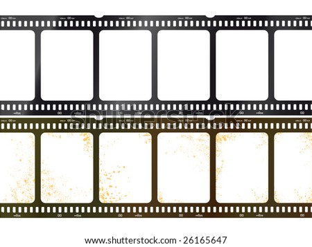 Vector illustration of vintage and new film - stock vector
