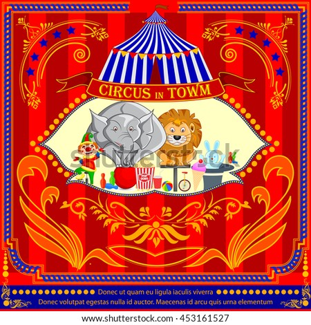 vector illustration of Vintage Circus Cartoon Poster Invitation for Party, Carnival and Advertisement - stock vector