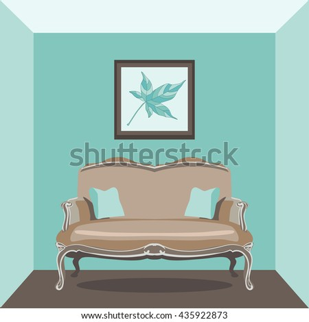 Vector Illustration of vintage living room with sofa - stock vector