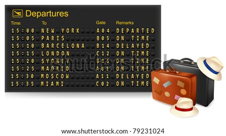 Vector illustration of vintage mechanical airport time table and travel suitcases. - stock vector
