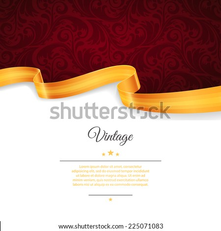 Vector illustration of Vintage template with gold ribbon - stock vector