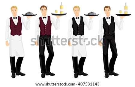 Vector illustration of waiter with tray isolated on white background. Young man in uniform - stock vector
