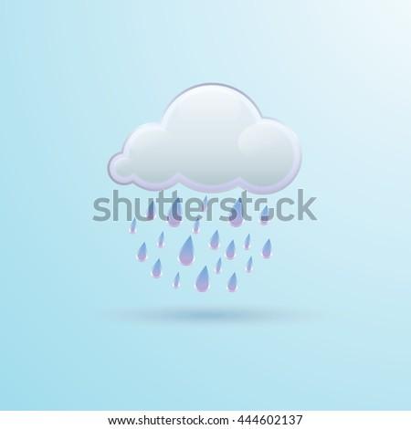Vector illustration of weather icon - rain  - stock vector