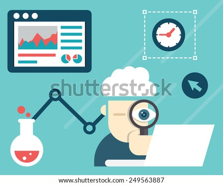 Vector illustration of web analytics information and development website statistic - vector illustration  - stock vector