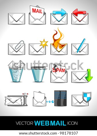 Vector illustration of web 2.0 mail icons set for websites, web applications. email applications or server Icons - stock vector