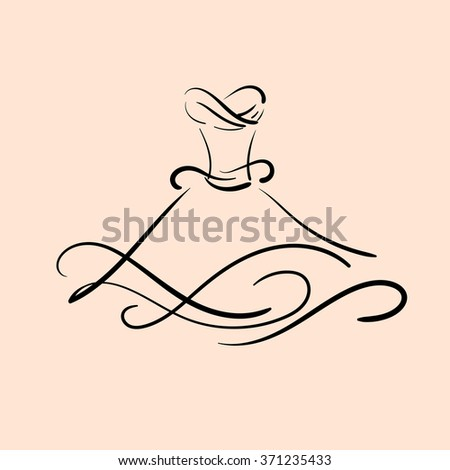 Vector illustration of wedding dress made in hand drawn line style. Template for business greeting invitation card and banner. - stock vector