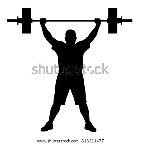 Vector illustration of weight lifter athlete silhouette - stock vector