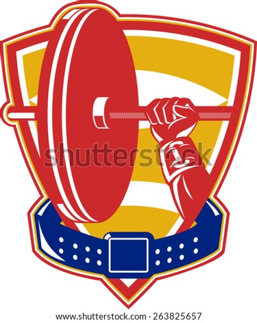 vector illustration of weightlifting weightlifter hand lifting weights set inside shield with belt around on isolated white background done in retro style. - stock vector