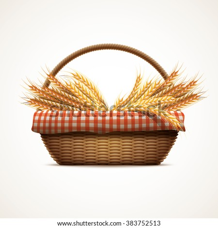 Vector illustration of wheat in wicker basket. Elements are layered separately in vector file. CMYK colors.  - stock vector
