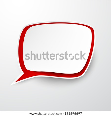 Vector illustration of white and red paper speech bubble. Eps10. - stock vector