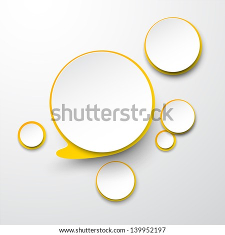 Vector illustration of white and yellow paper round speech bubble. Eps10. - stock vector