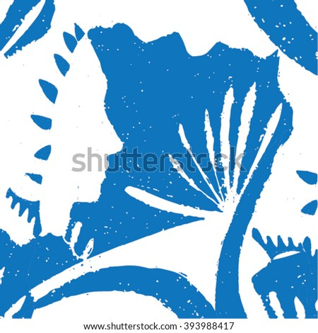 Vector illustration of white & blue hand drawn graphic pattern / background. Face, lines, distorted, native grunge image. Doodle. - stock vector