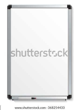 Vector illustration of white board with colored maker - stock vector