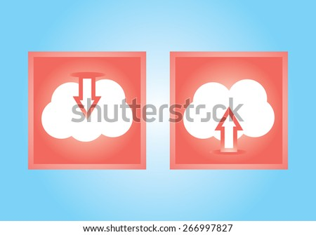 Vector illustration of white cloud icon set with upload download symbol, up and down red arrows on them isolated on blue background wall. Pictogram, button icons for your web site. No transparencies - stock vector
