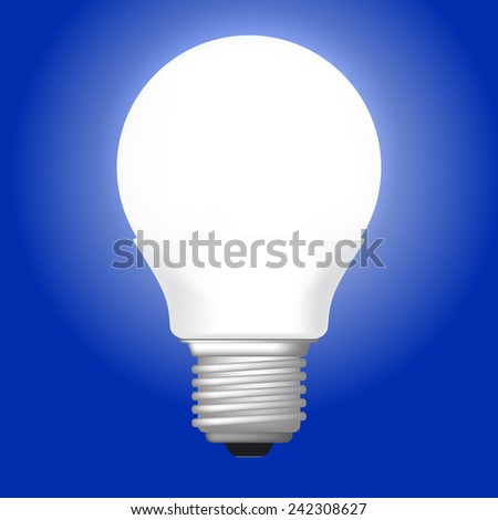 Vector illustration of white LED glowing lamp. on blue background - stock vector