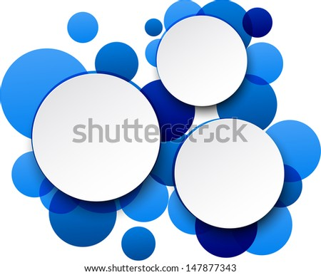 Vector illustration of white paper round speech bubbles over blue background. Eps10.  - stock vector