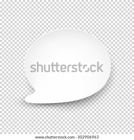 Vector illustration of white paper rounded speech bubble with shadow. Eps10. - stock vector